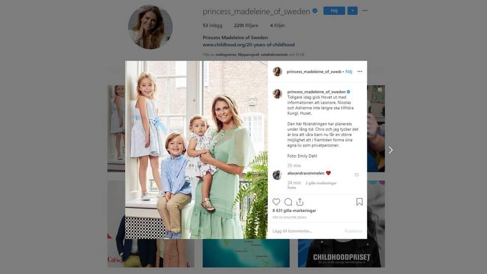Prinsessan Madeleine kommenterar kungens beslut på Instagram.