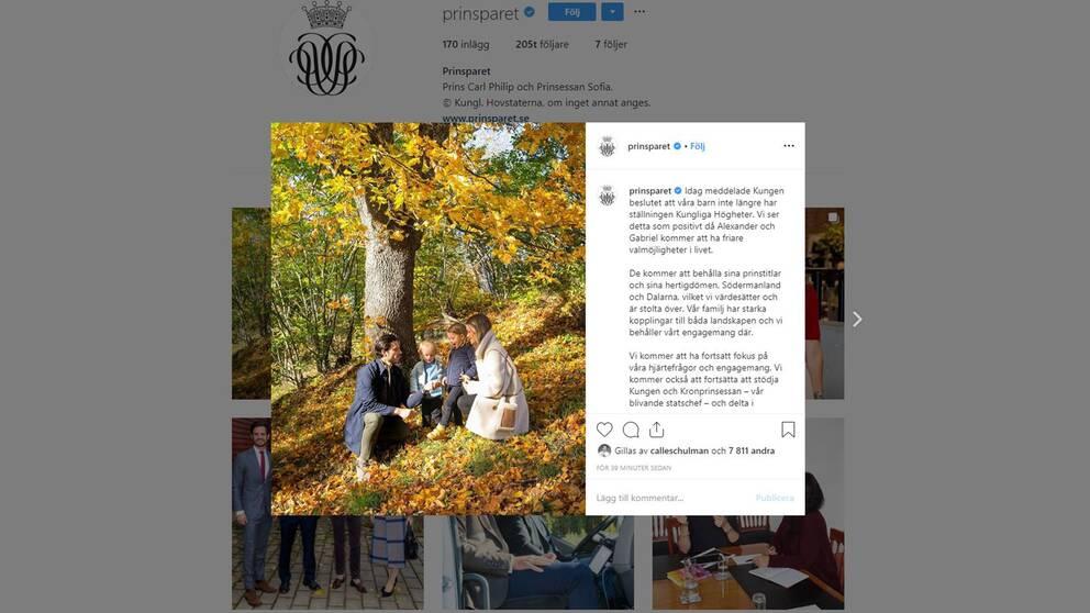 Prins Carl Philip och prinsessan Sofia kommenterar dagens beslut på Instagram.