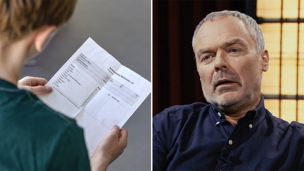 Elev håller i betyg. Jan Björklund.
