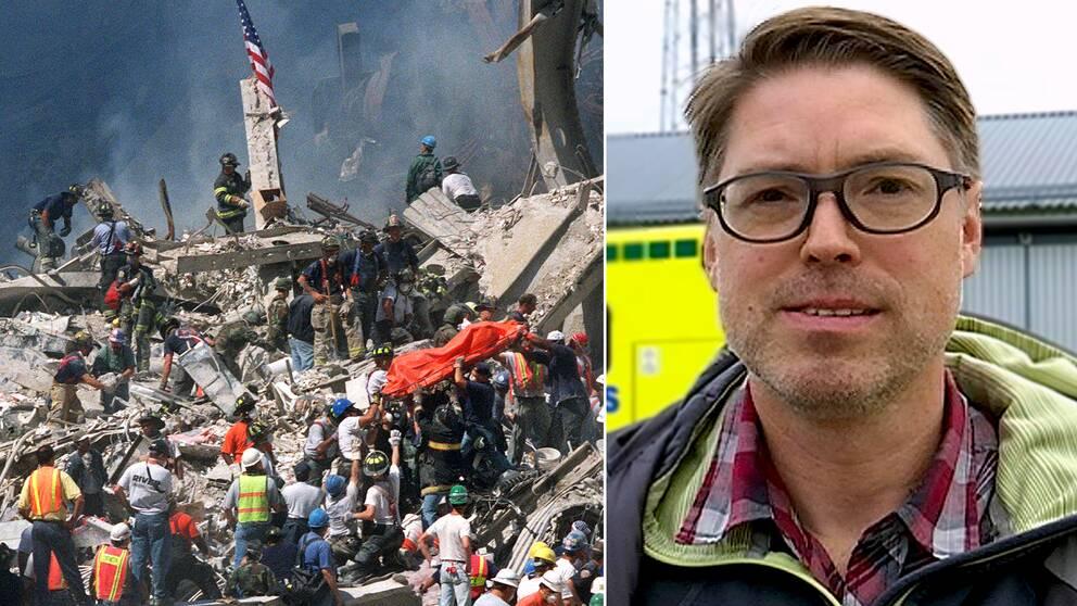 räddningspersonal vid World Trade Center, New York, 2001. Fredrik Granholm, överläkare inom ambulanssjukvården i Västernorrland.