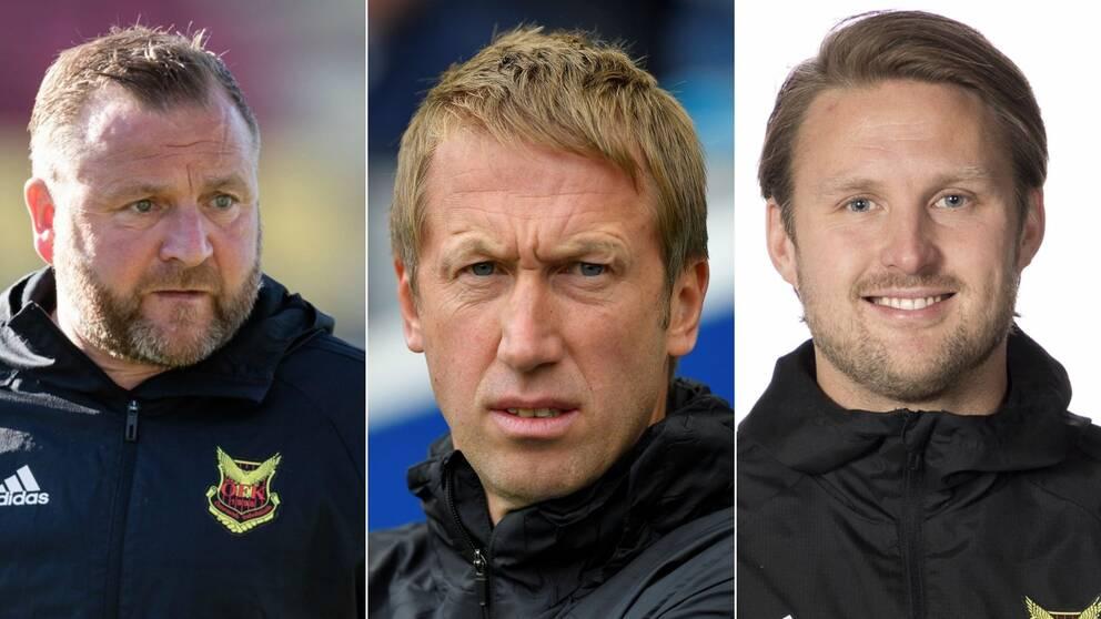 Bilder på Billy Reid, Graham Potter och Björn Hamberg, alla tidigare tränare i Östersunds Fotbollsklubb