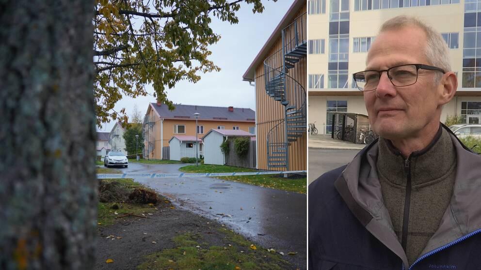 En avspärrad gata till vänster i bild, till höger en man med svartbågade glasögon