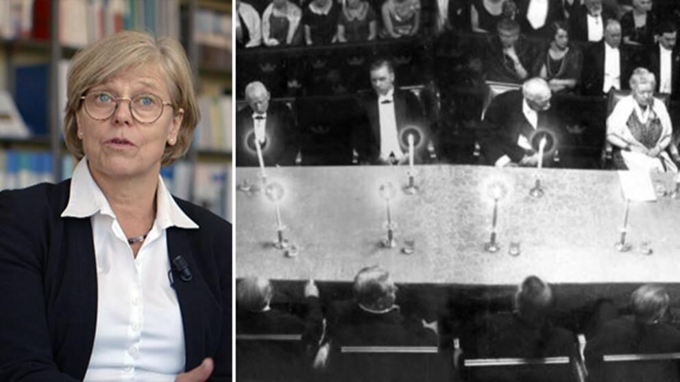 Bild på Ingrid Carlberg och bild på en gammal svartvit bild på Akademien.