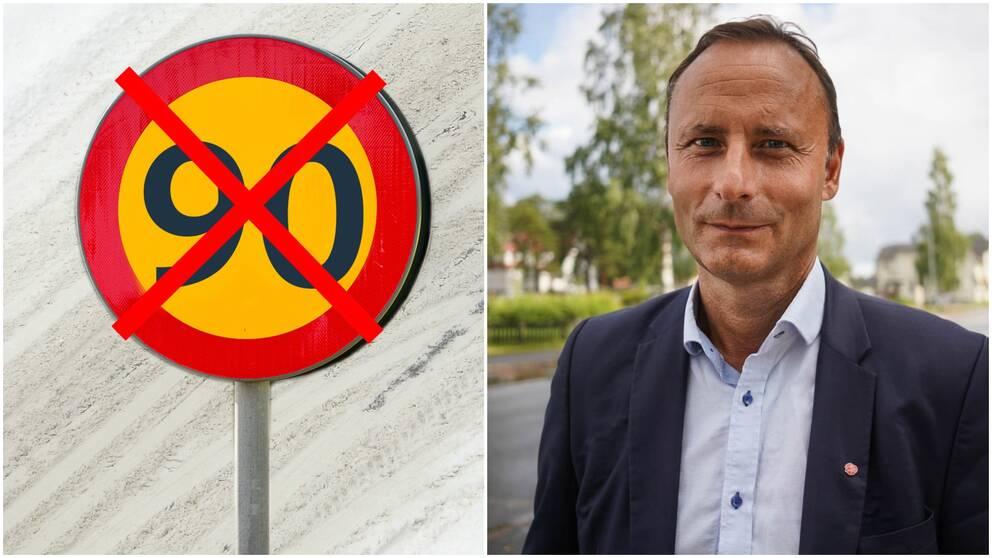 Hastighetsskylt, Patrik Nilsson (S) kommunalråd i Robertsfors