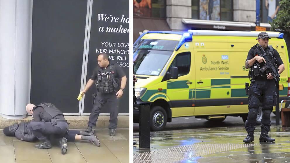 Till vänster: En polis håller en missänkt man mot marken medan den andra riktar en elpistol mot honom. Till höger: Polis med automatvapen står framför en ambulans.