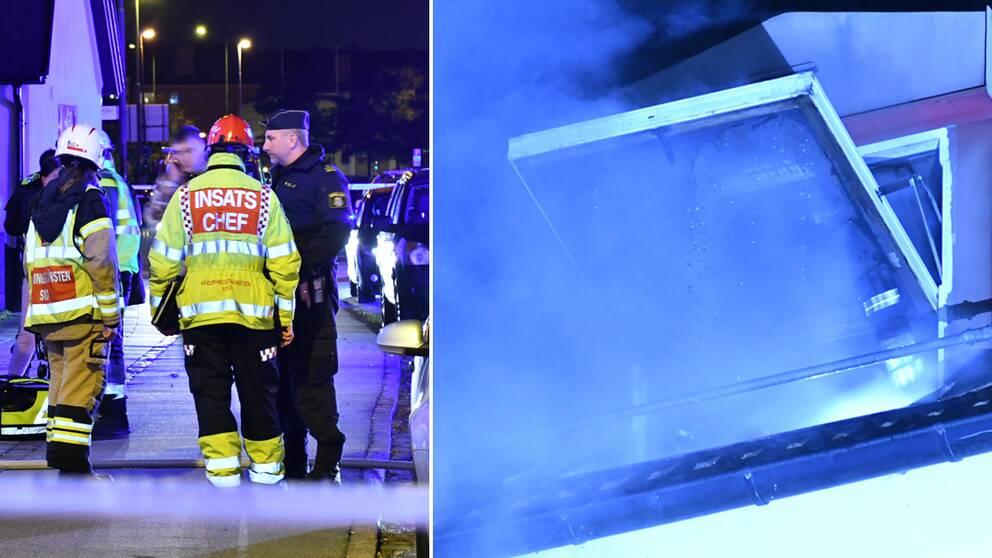 Räddningstjänsten på plats utanför flerbostadshuset i Malmö där bränderna startade.
