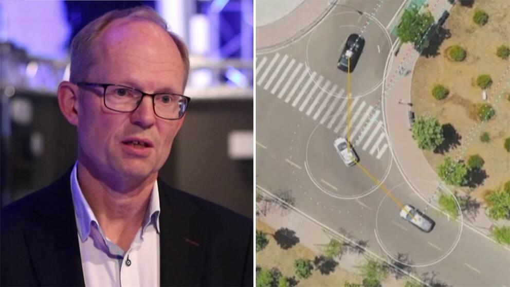 Magnus Frodigh och självkörande bilar på en väg.