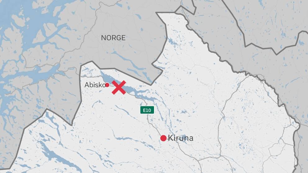 grafik-karta med Kiruna, Abisko oxh olycksplats utmärkta