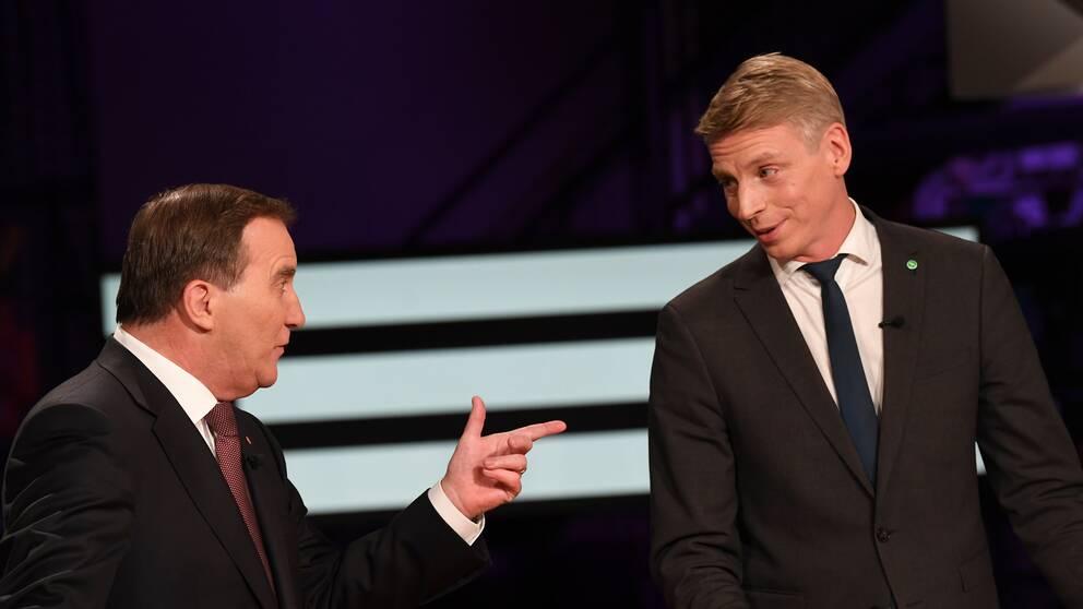 Stefan Löfven (S) och Per Bolund (MP) var inte överens om migrationspolitiken.