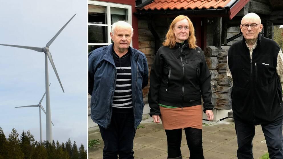 Arne Albertsson, Lotta Albertsson och Christer Florman framför timrad stuga
