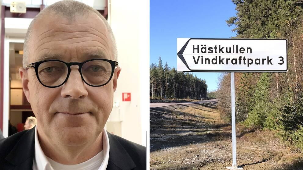 Per Nordlund, vd för Nysäter Wind och en bild på skylten till Hästkullens vindkraftpark