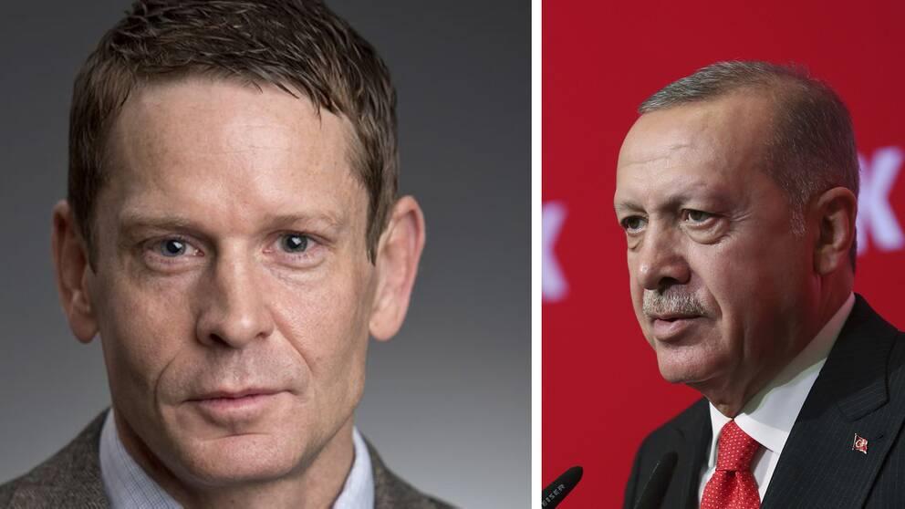 USA-experten och statsvetaren Björn Ottosson till vänster. Turkiets president Erdogan till höger.