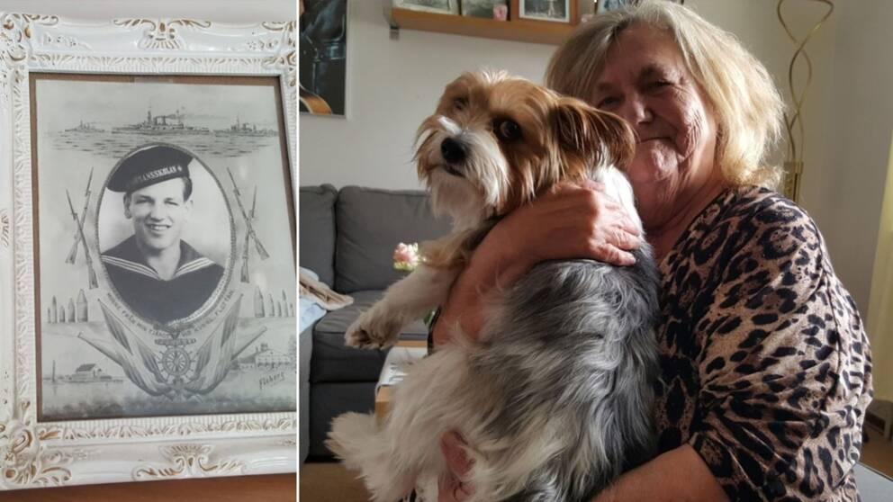 Fotoram, kvinna med hund