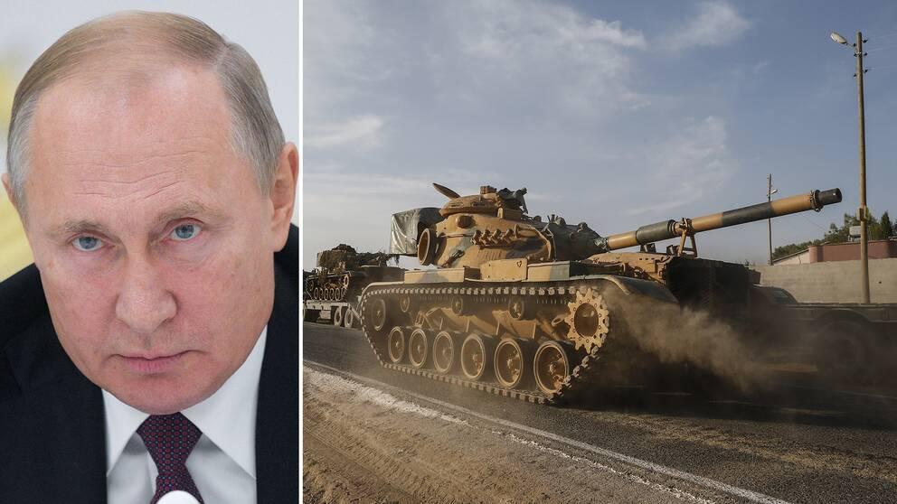 Rysslands president Vladimir Putin och en turkisk stridsvagn nära gränsen mot Syrien.