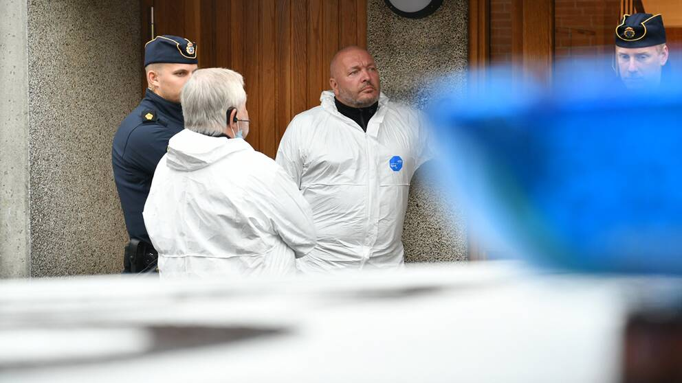 Polisens kriminaltekniker har undersökt platsen under onsdagen.