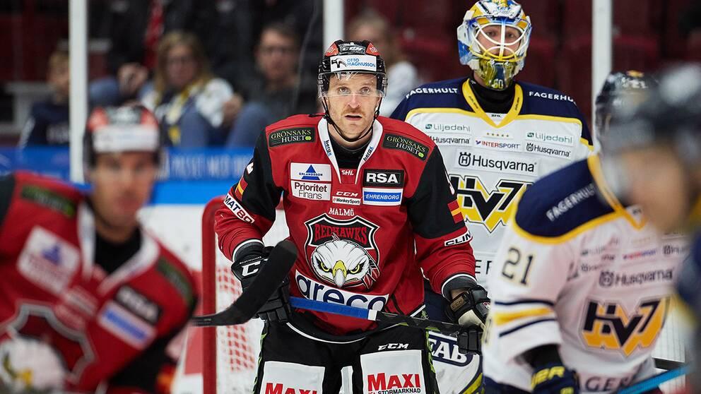 Malmös Frederik Storm under torsdagens ishockeymatch i SHL mellan Malmö Redhawks och HV71 i Malmö Arena.