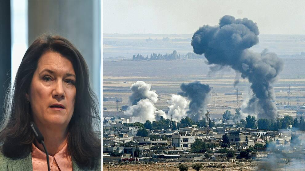 Utrikesminister Ann Linde till vänser och en bild över rökutveckling i den syriska staden Ras al-Ain