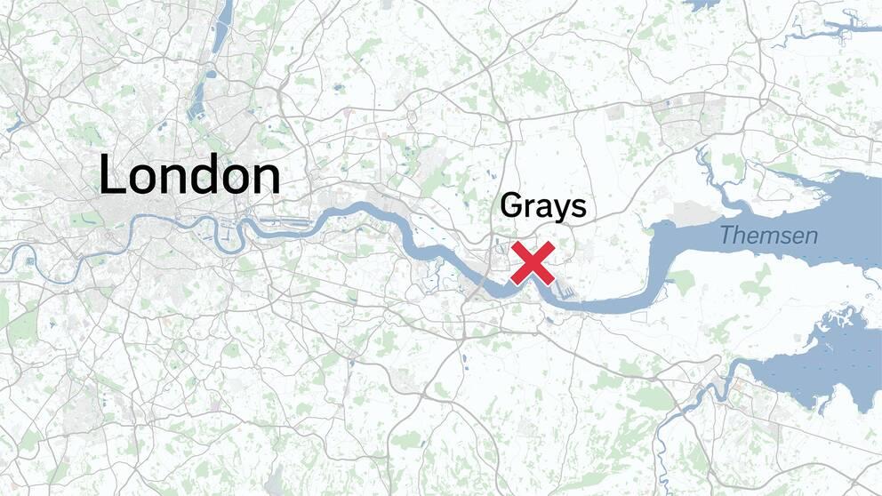 Lastbilen hittades i ett industriområde i Grays utanför London