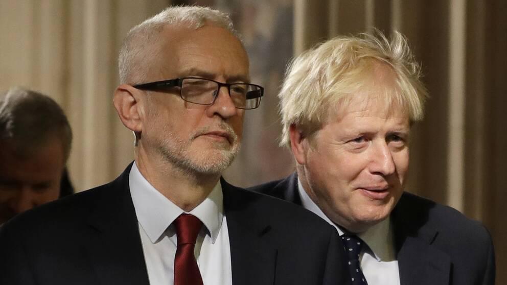 Labourledaren Jeremy Corbyn och premiärministern Boris Johnson
