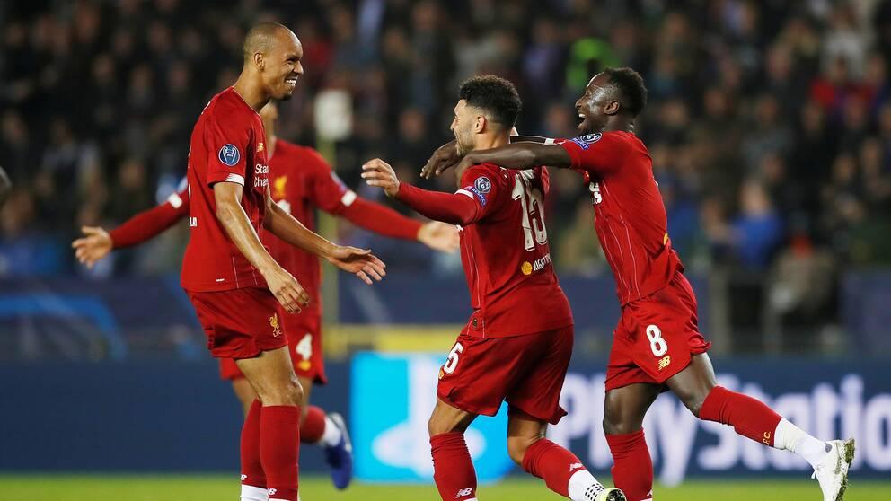 Liverpool jublar efter Alex Oxlade-Chamberlains mål.
