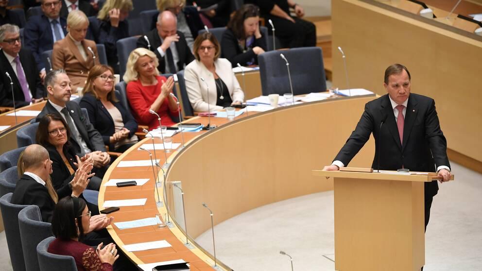Statsminister Stefan Löfven under riksdagsdebatten tidigare i oktober.
