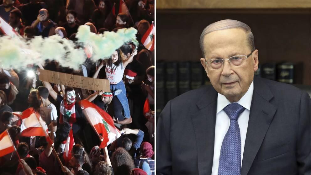 Demonstranter i Libanon och president Michel Aoun.