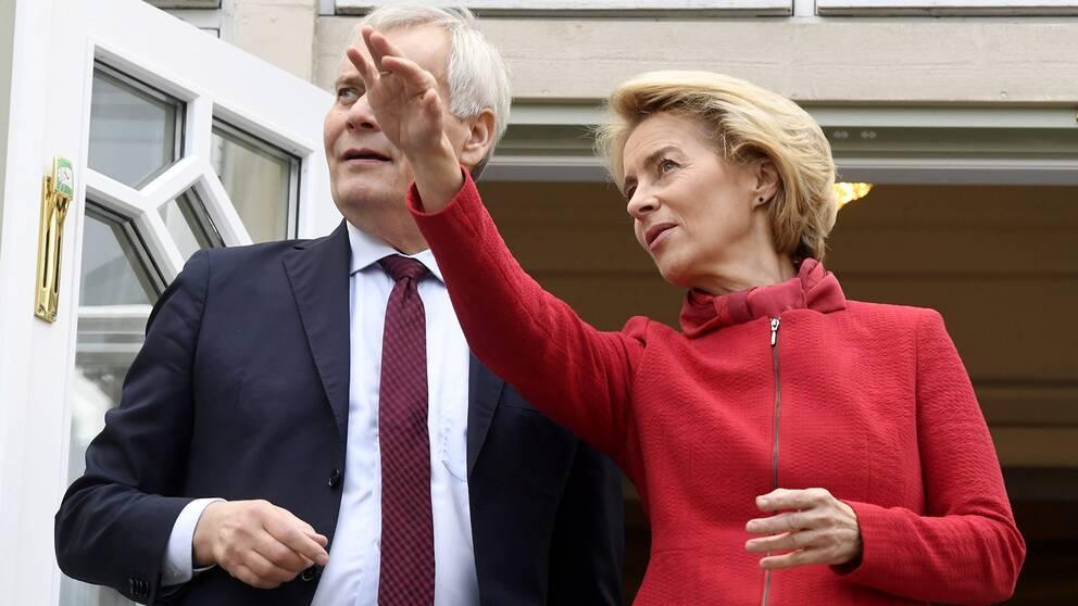 Antti Rinne och Ursula von der Leyen.