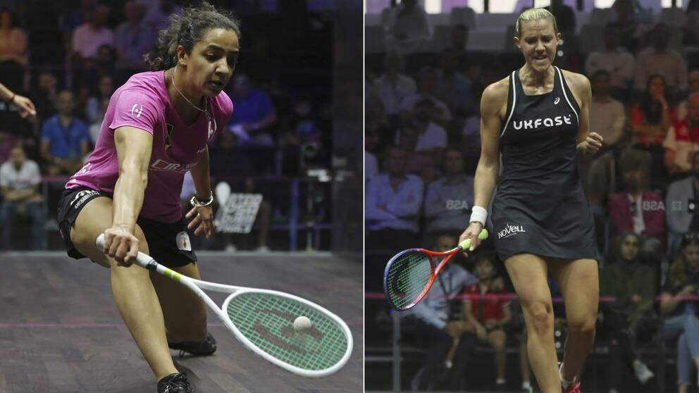 Världsettan Raneem El Welily till vänster och Laura Massaro.