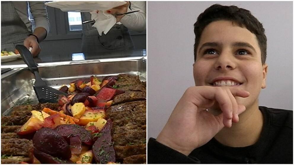 Den ena bilden visar köttfärslimpa i ett stort rostfritt kärl och elever som köar intill. Den andra bilden visar en tonårskille som ser glad ut.