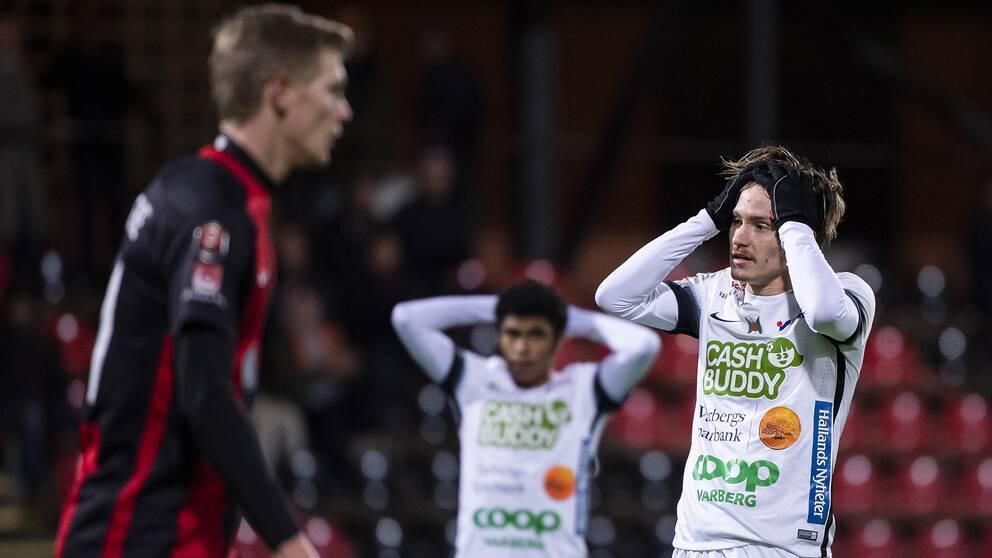 Varbergs Robin Book under fotbollsmatchen i Superettan mellan Brommapojkarna och Varberg den 27 oktober 2019 i Stockholm.