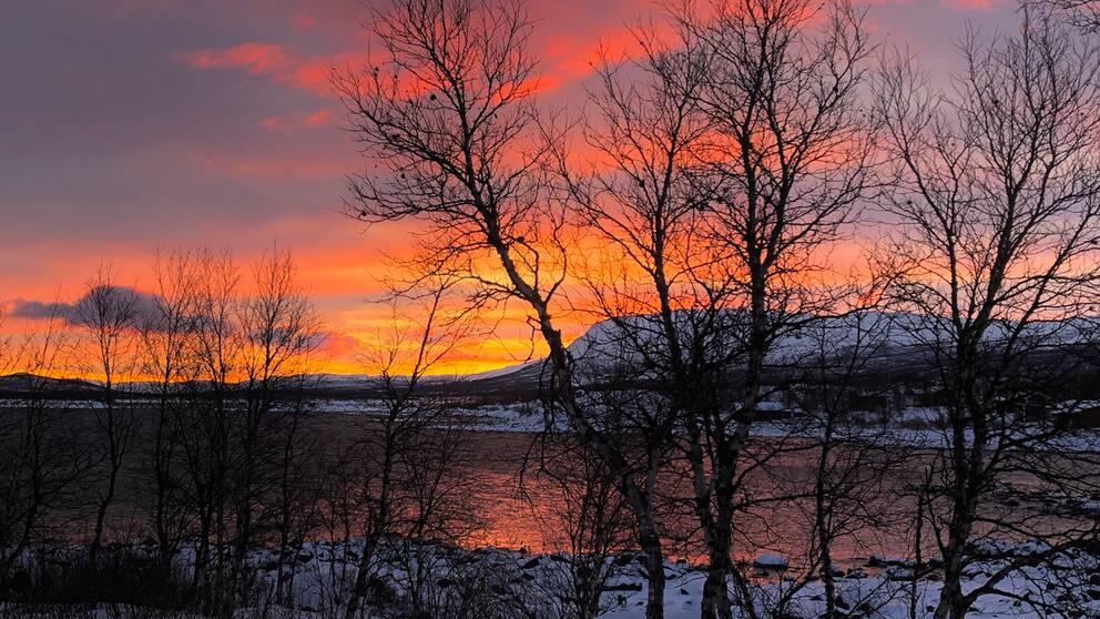En färgad soluppgång i Stenbacken, nordväst om Kiruna.