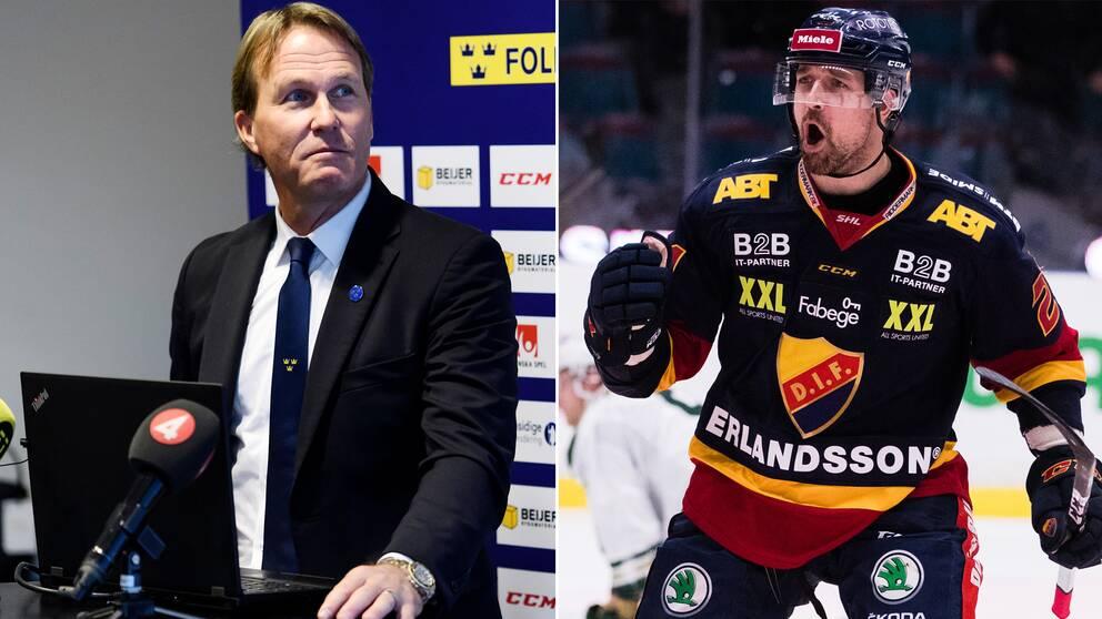 Förbundskapten Johan Garpenlöv och Patrik Berglund.