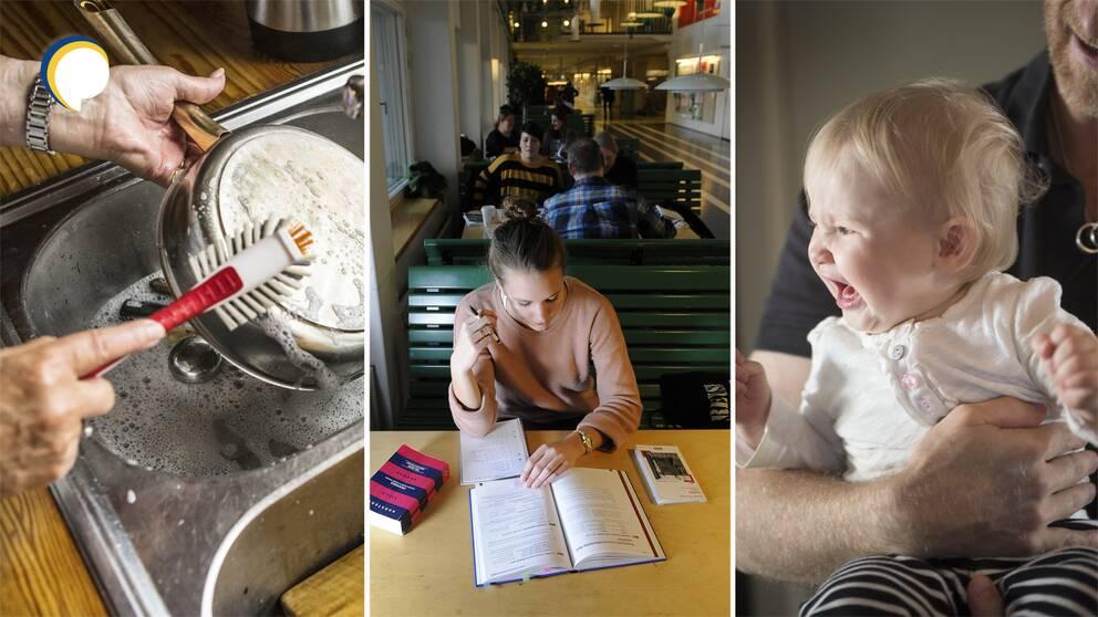 Kvinna som diskar, kvinna som studerar och barn som skriker.
