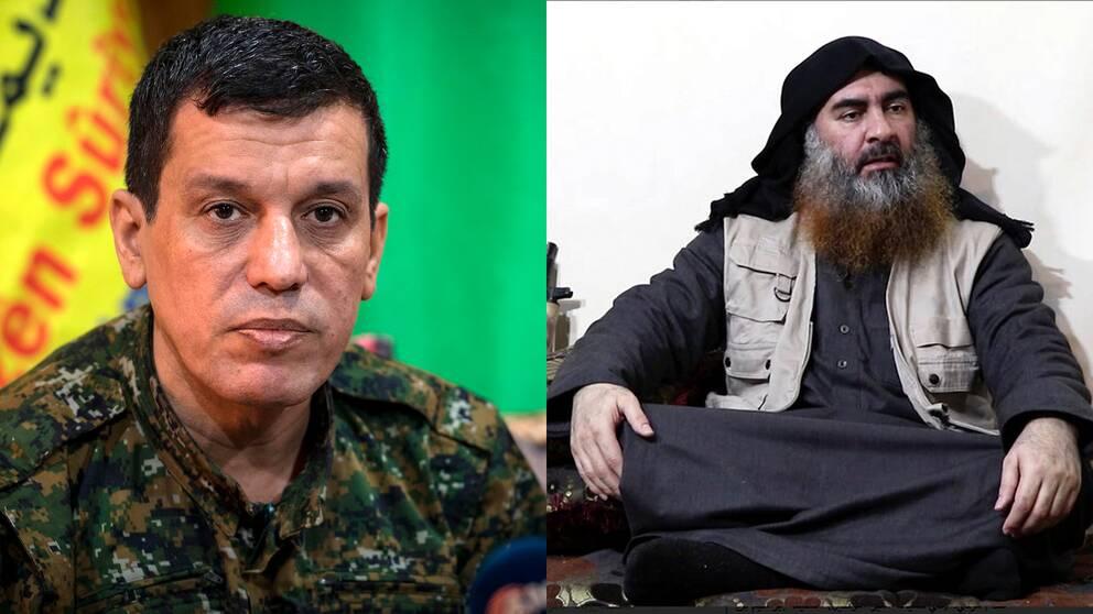 Kurdiska generalen Mazloum Abdi (vänster) säger att kurdiska underrättelsetjänsten hade en informant hos terrorledaren al-Baghdadi (höger).