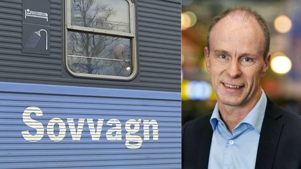 Bild på sovvagn och porträttbild på Jan Kyrk, affärsområdeschef SJ.