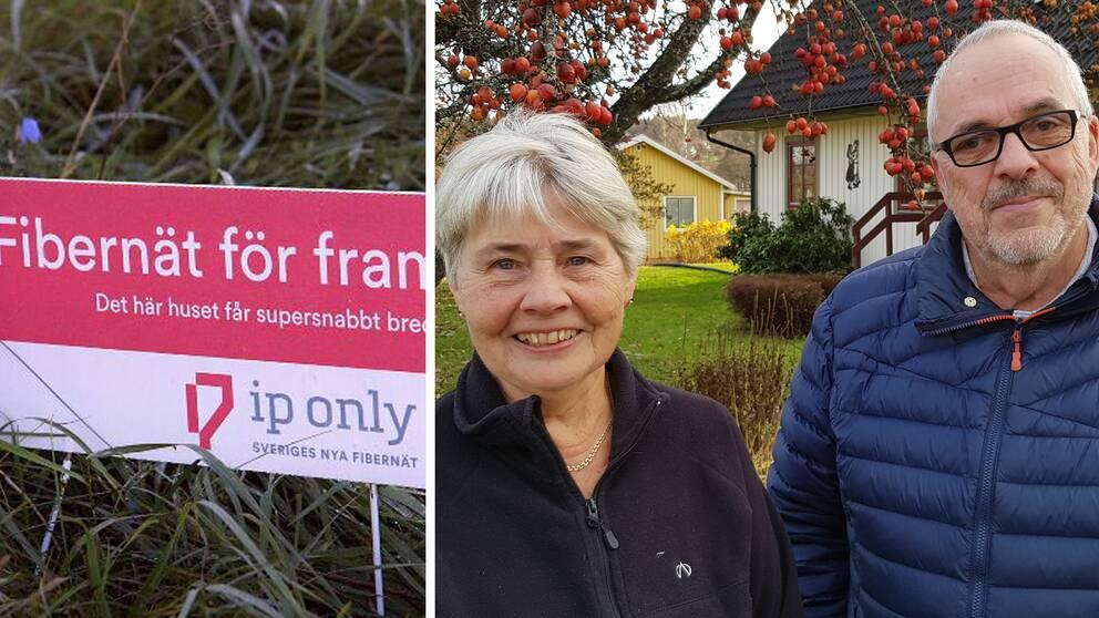 Paret Berit och Sven Bergqvist i Laggarberg framför sitt hus i Laggarberg, Timrå kommun