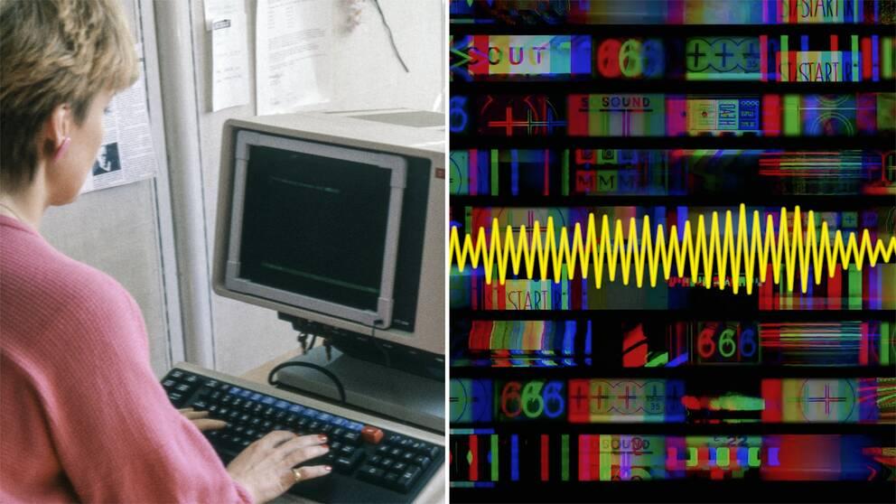 En kvinna sitter vid en gammal dator och skriver på ett tangentbord. En ljudvåg syns till höger mot en färglad bakgrund.
