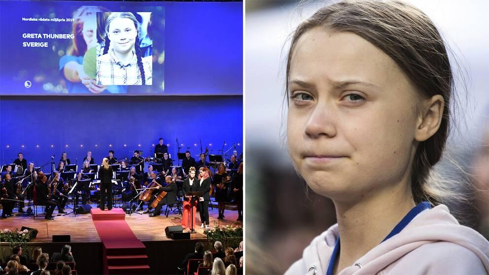 Bild från galan och en bild på Greta Thunberg