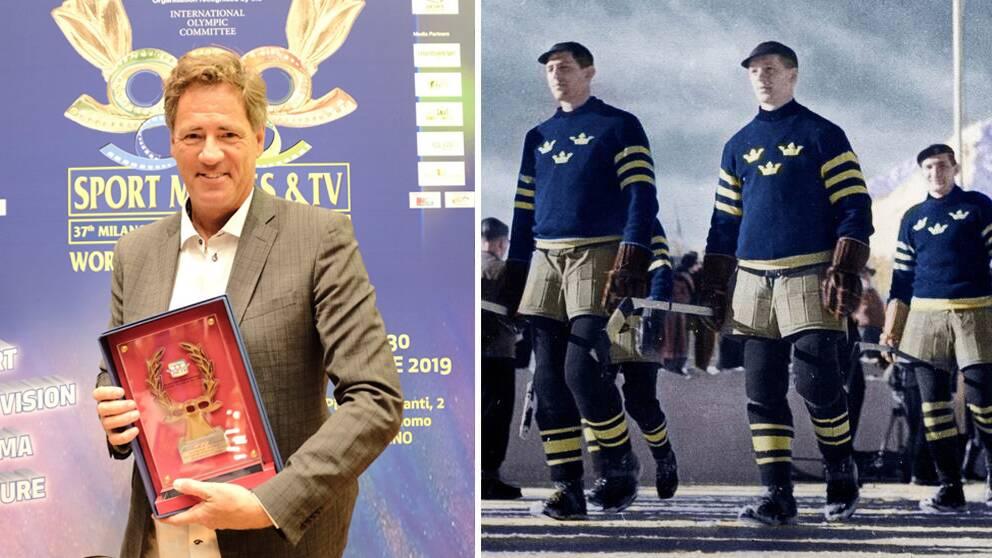 """Jens Lind tog emot priset för """"Hockeyns historia"""" vid sportfilmsfestivalen i Milano."""