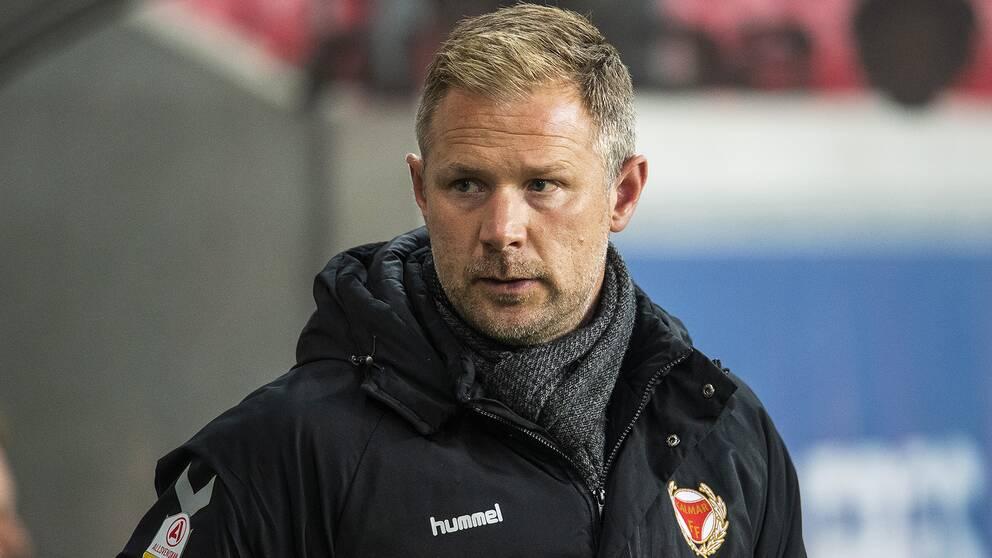 Kalmars tränare Magnus Pehrsson under fotbollsmatchen i Allsvenskan mellan Kalmar och Sundsvall den 24 september 2019 i Kalmar.