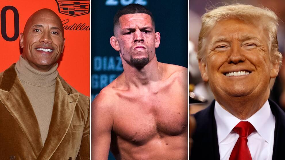 """Från vänster: Filmstjärnan Dwayne """"The Rock"""" Johnson, UFC-stjärnan Nate Diaz och USA:s president Donald Trump."""