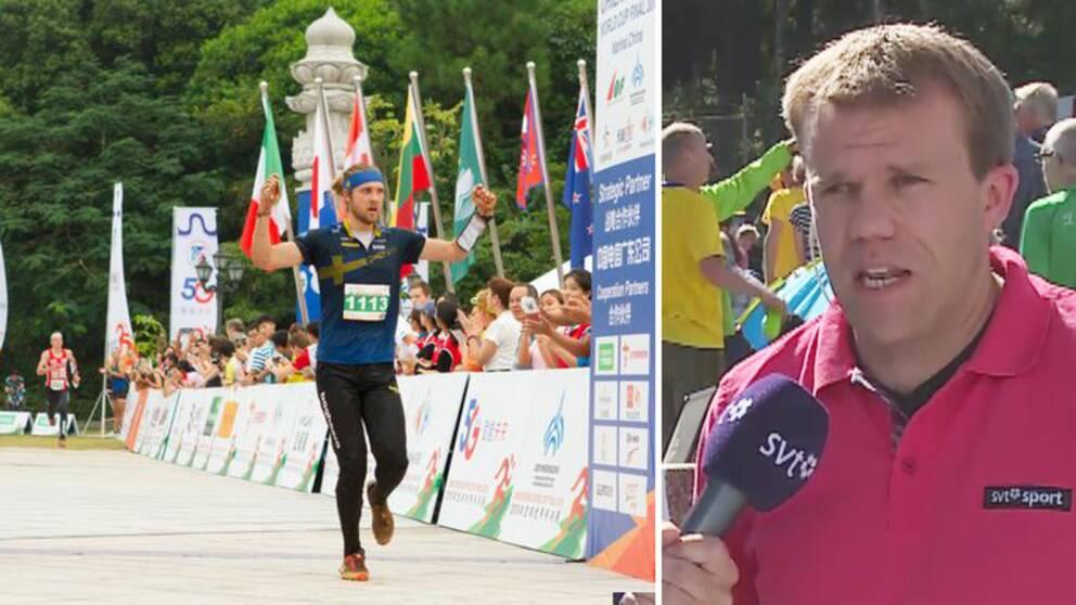 Mats Troeng (t.h) tror att OS är fel väg att gå för orienteringen. Gustav Bergman (t.v) vann världscupen i helgen men eftersnacket har handlat om misstänkt fusk av de kinesiska löparna.