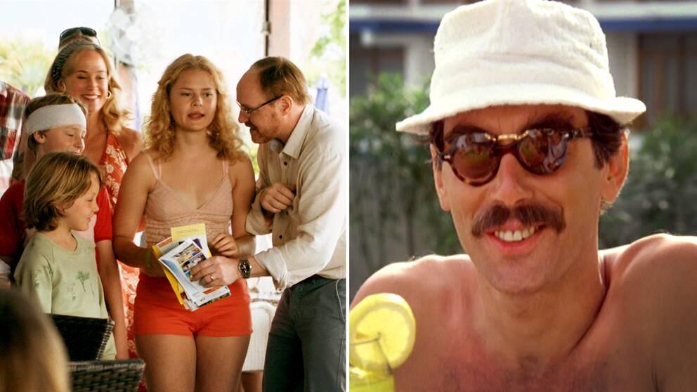 En bild från filmen Sune i Grekland, på hela Sunes familj, samt en bild på Stig-Helmer från filmen Sällskapsresan.