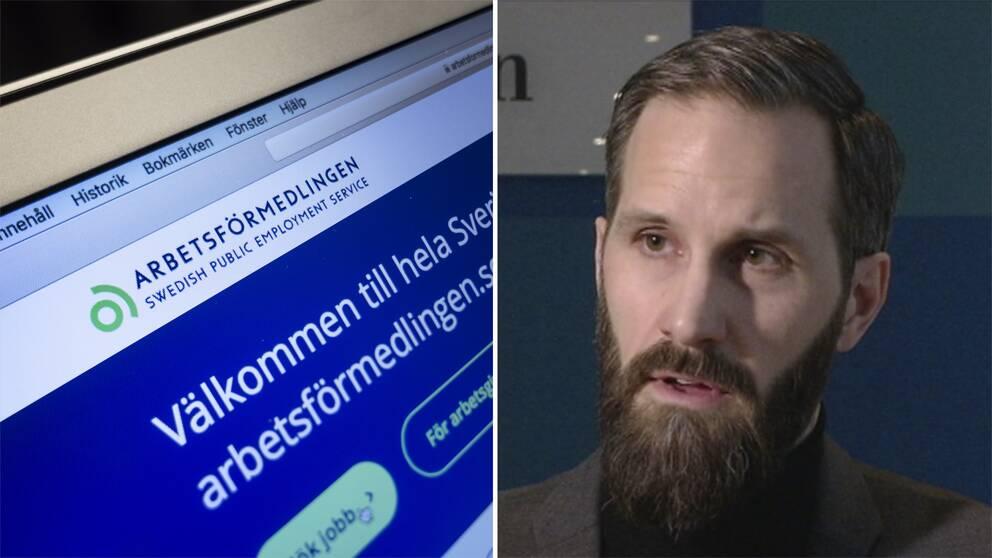 Arbetsförmedlingens digitala tjänst på dator, Erik Sanström.