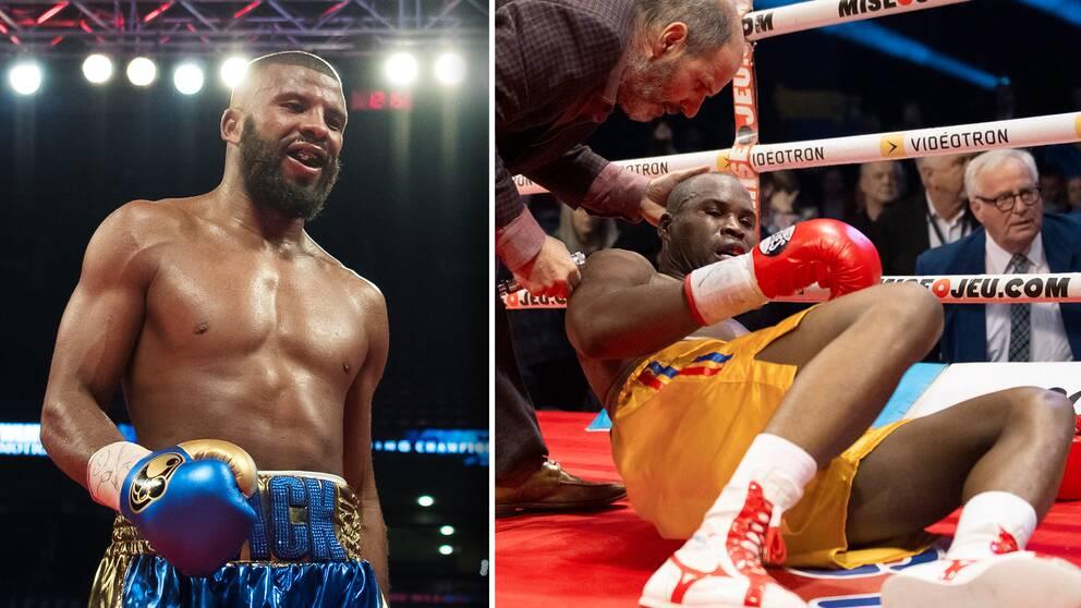 Vänster: Badou Jack. Höger: Adonis Stevenson i sin sista boxningsmatch, när han blev knockad i december 2018.