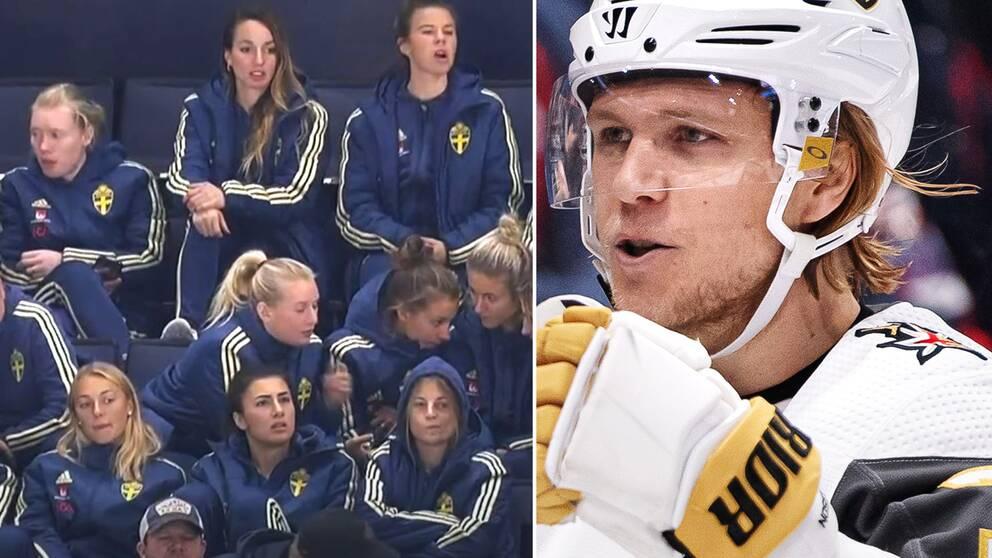 Svenska landslaget på läktaren när Vegas och William Karlsson vann.