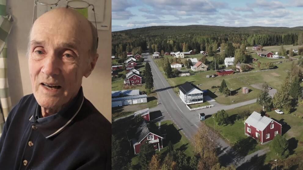 En delad bild på Olle Forsberg och en överblick av Rentjärn.