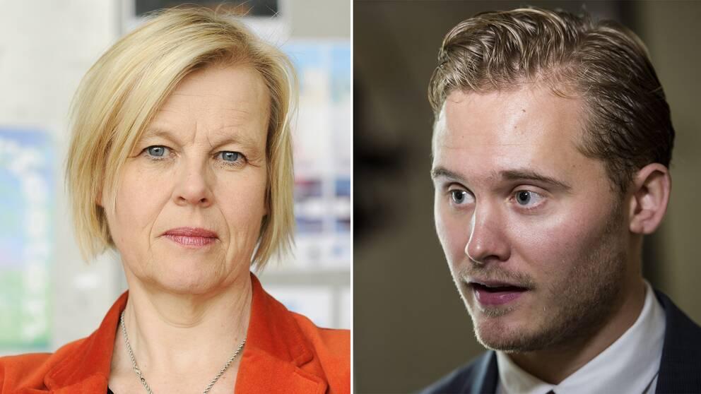 Forskaren Ann-Cathrine Jungar och Sverigedemokraternas integrationspolitiske talesperson Henrik Vinge.
