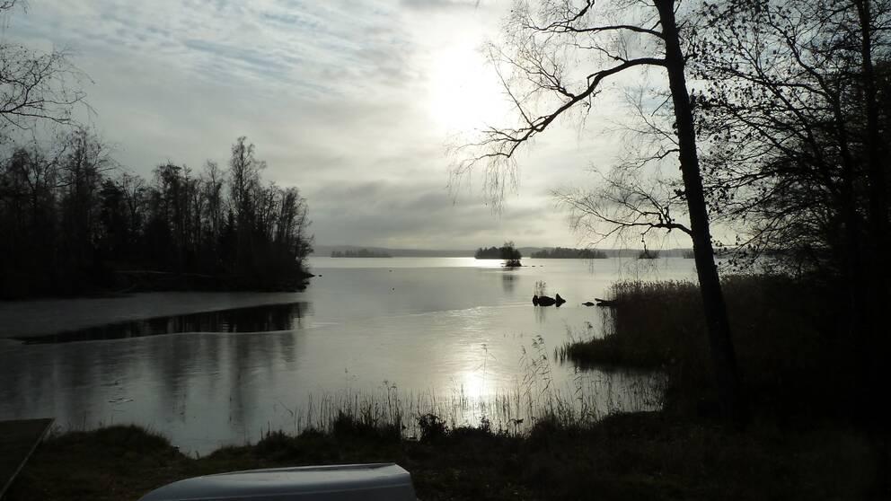 Östra Hjälmaren, Lista väster om Eskilstuna Södermanland .Första dagen där nattisen ligger kvar.
