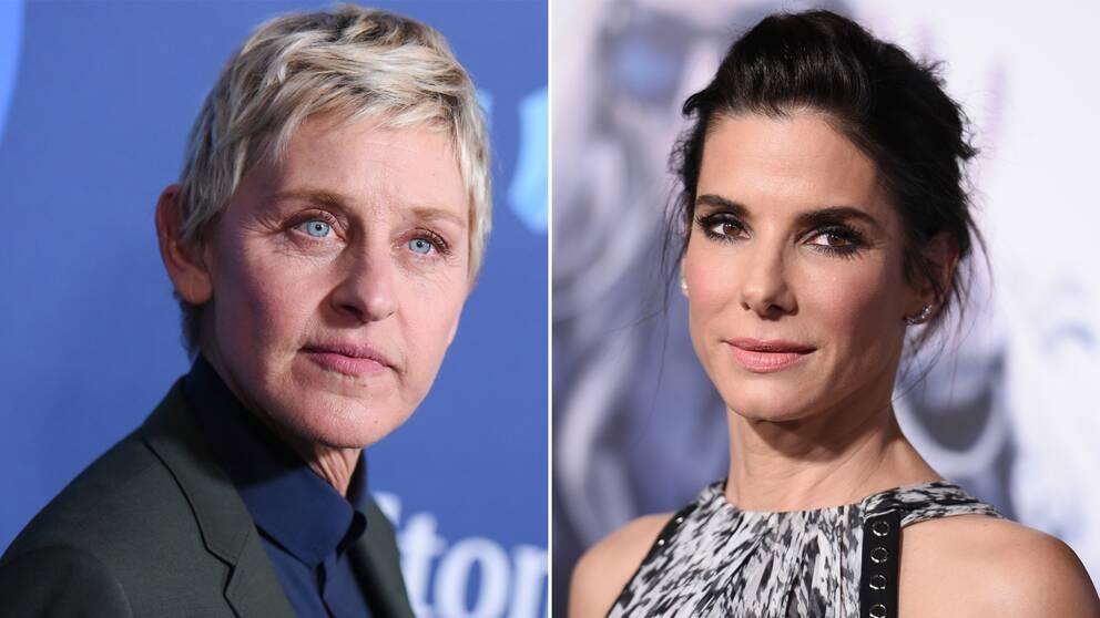 Talkshow-värden Ellen Degeneres och skådespelaren Sandra Bullock.